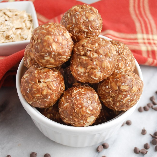 peanut butter protein balls in a dish