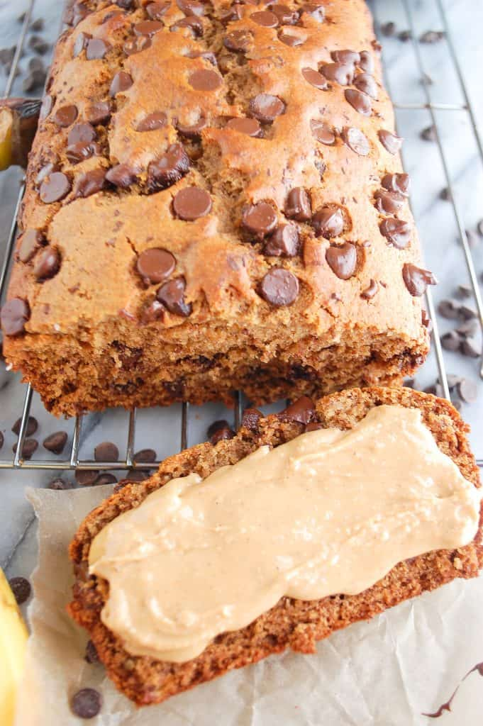 slice of healthy banana bread with peanut butter