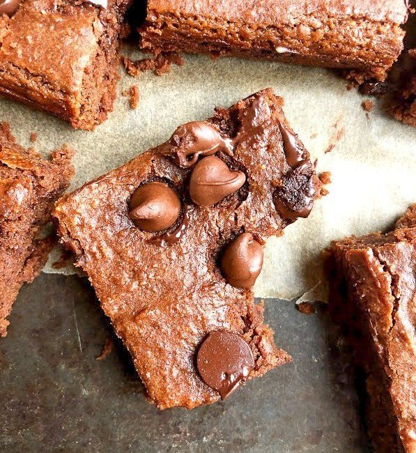 chickpea brownie on a tray
