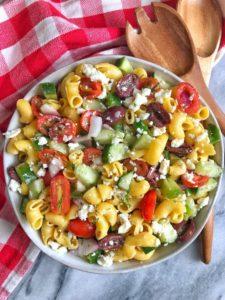 bowl of greek pasta salad
