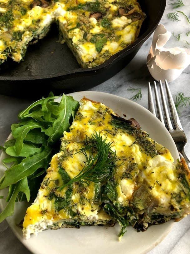 slice of simple veggie frittata on a plate