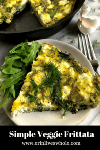 simple veggie frittata slice on a plate