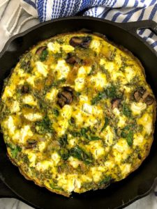 vegetable frittata in a skillet