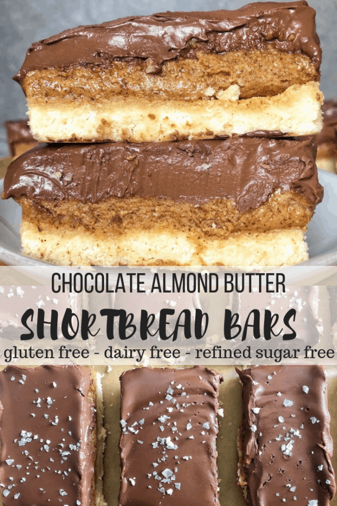 chocolate almond butter shortbread bars