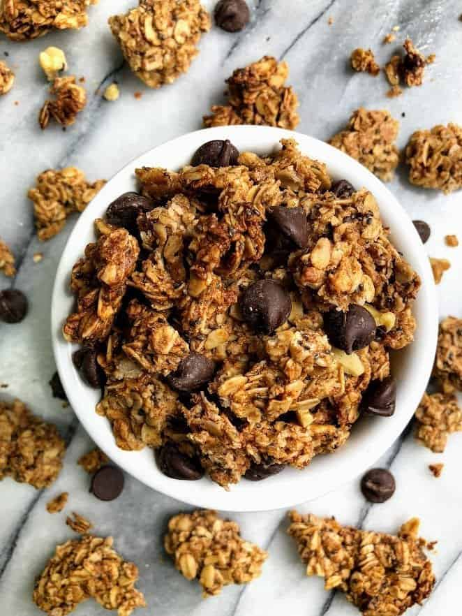 almond butter granola in a bowl
