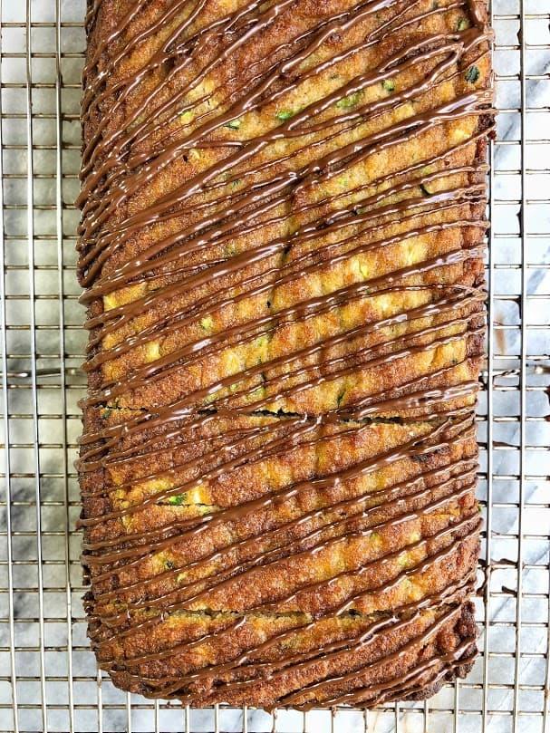 loaf of paleo zucchini bread on rack