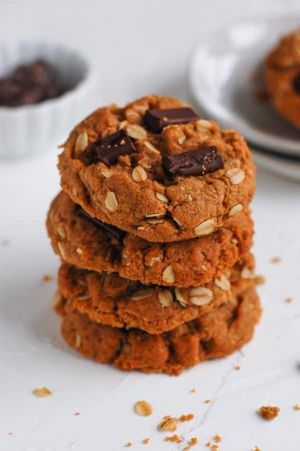 stack of tahini chocolate chip cookies