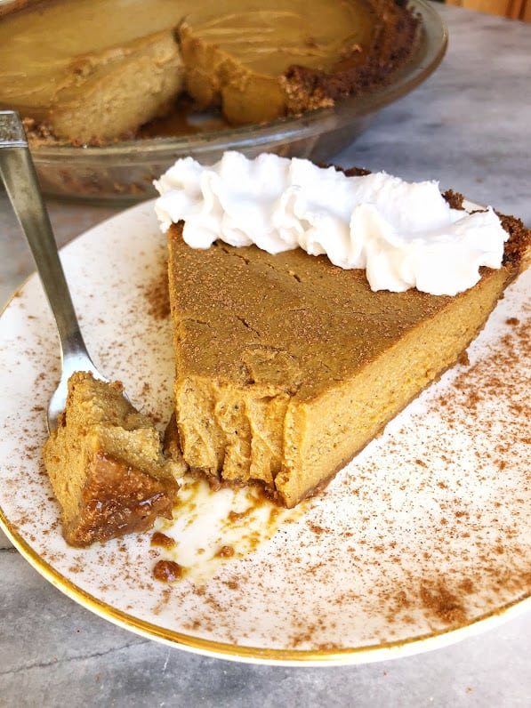 slice of vegan pumpkin pie on a plate