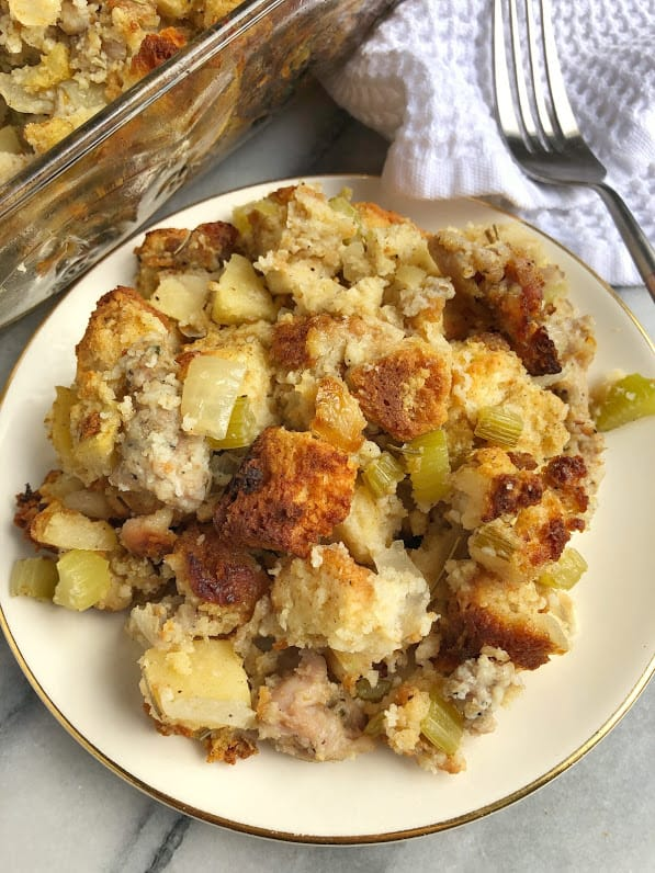 plate of gluten free stuffing