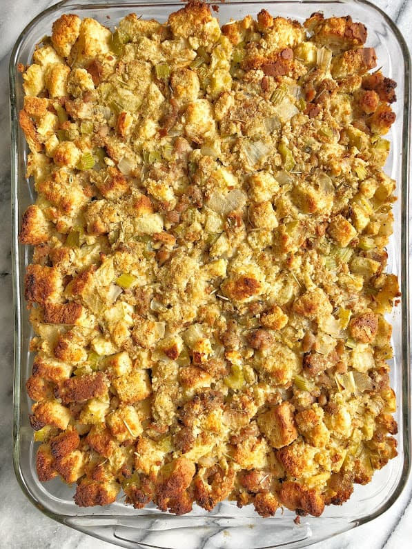 dish of healthy apple sausage stuffing