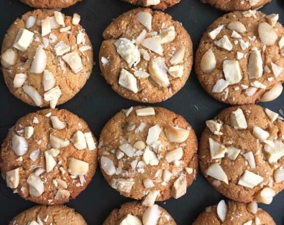 tray of white chocolate macadamia nut cookies