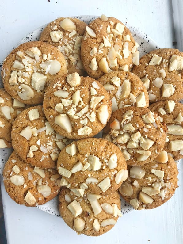 healthy white chocolate macadamia nut cookies on a plate