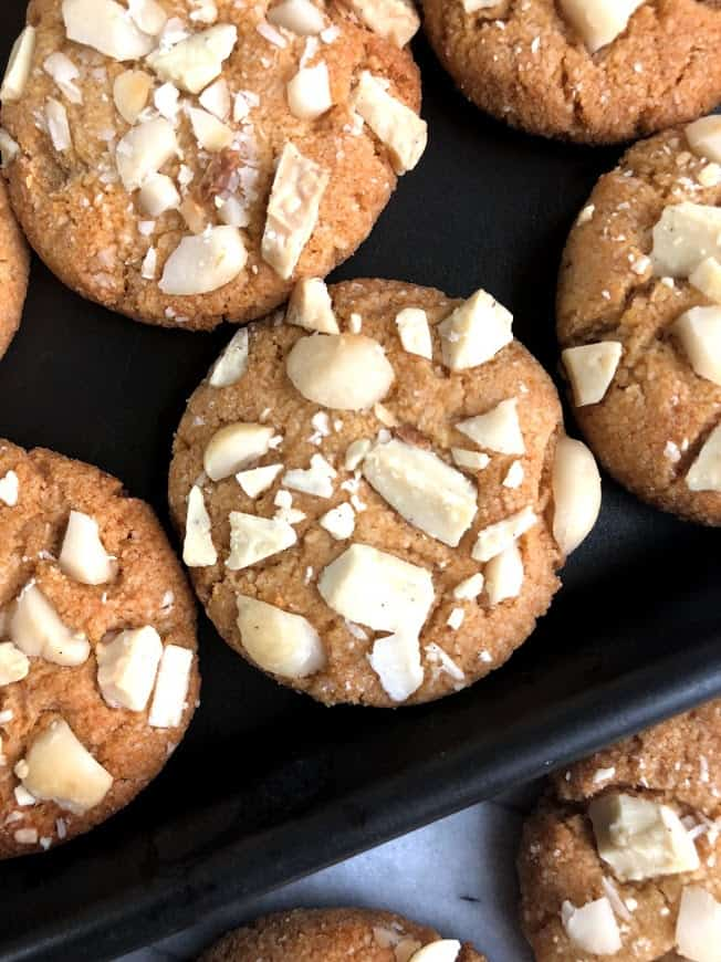 healthy white chocolate macadamia nut cookies on a tray