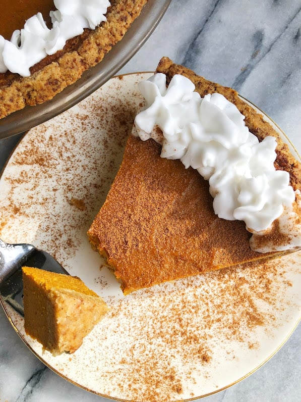 paleo pumpkin pie on a plate