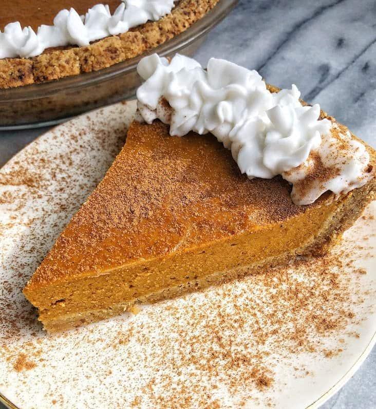 slice of paleo pumpkin pie on a plate