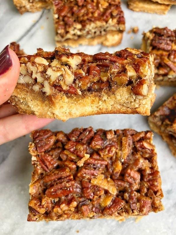 Bite into a healthy pecan pie bar