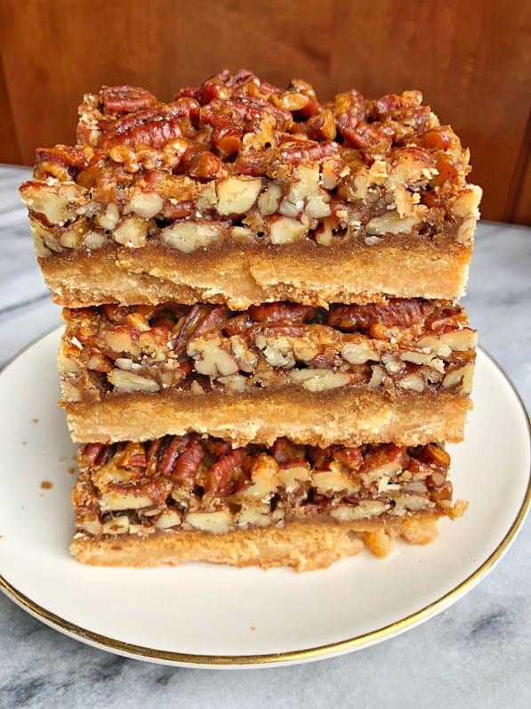 stack of healthy pecan pie bars