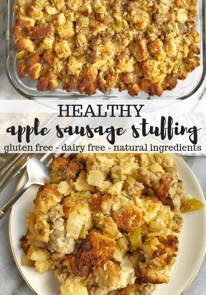 pinterest image for healthy apple sausage stuffing