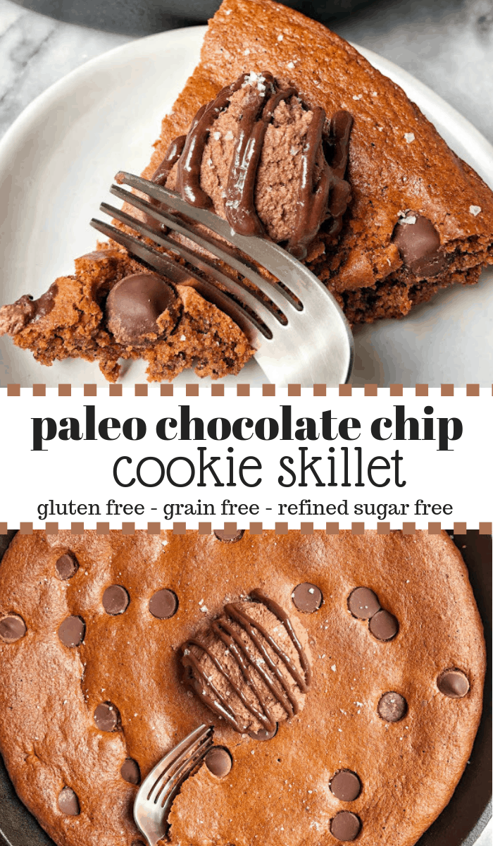 pinterest image for healthy chocolate chip cookie skillet