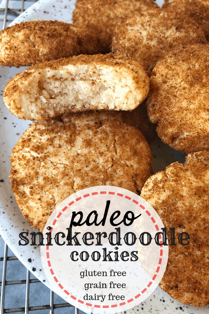pinterest image for paleo snickerdoodle cookies