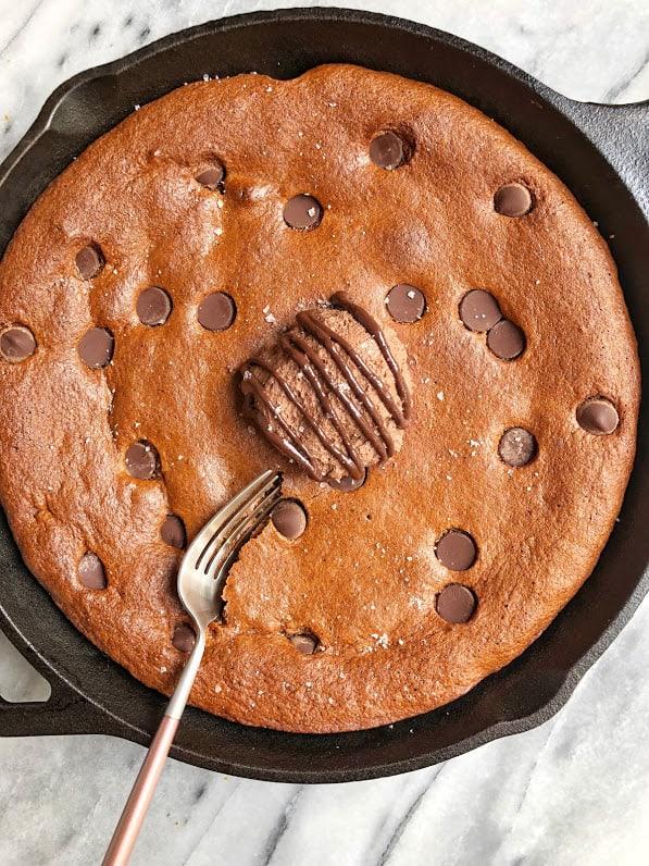 healthy chocolate chip cookie skillet in pan