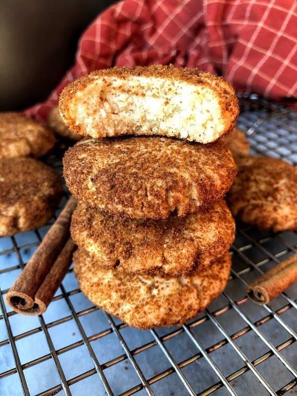 stack of paleo snickerdoodle cookies