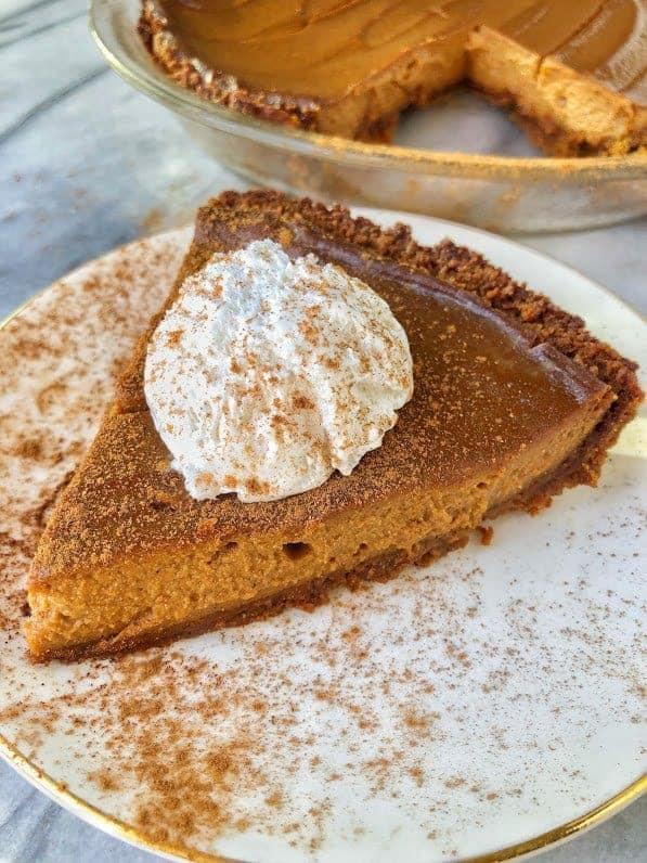 slice of vegan pumpkin pie on plate