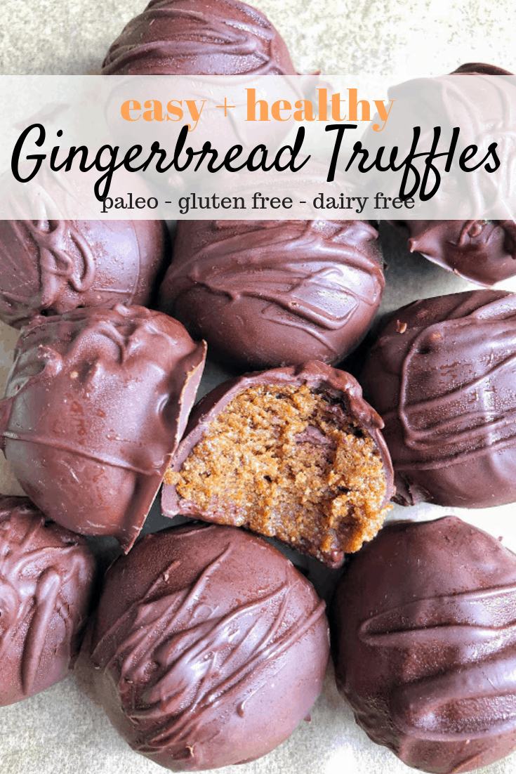 pinterest image for easy gingerbread truffles