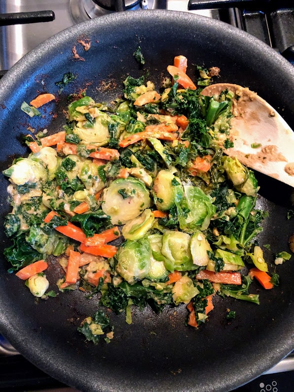 brussel sprouts, carrots, kale and almond butter sauce