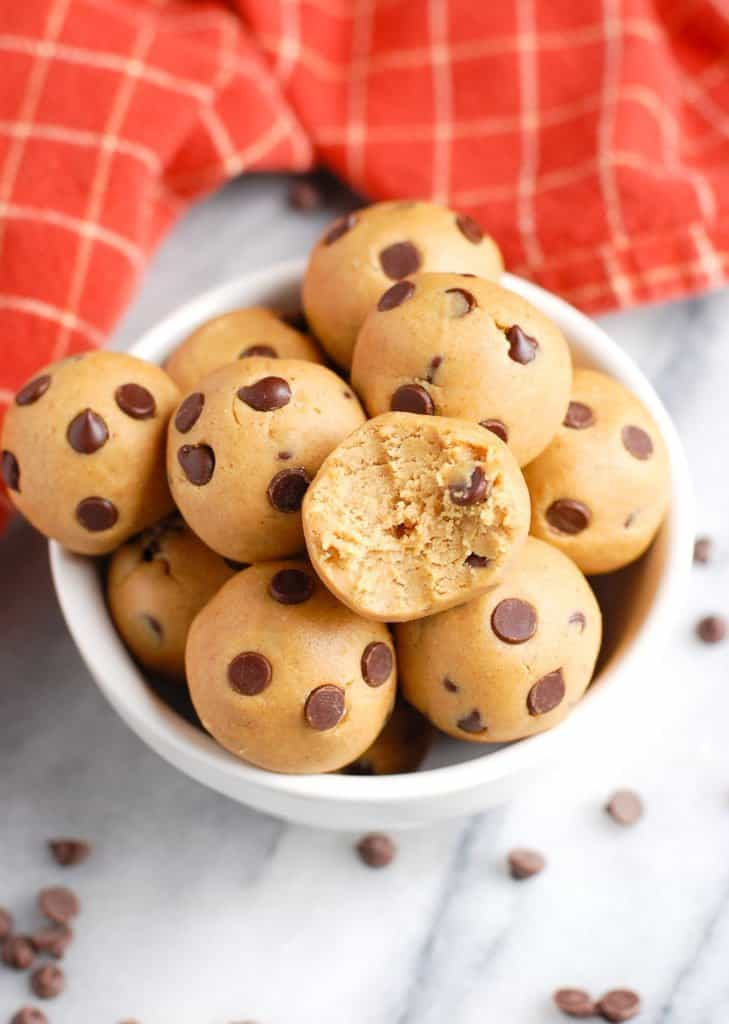 cookie dough balls in a cup