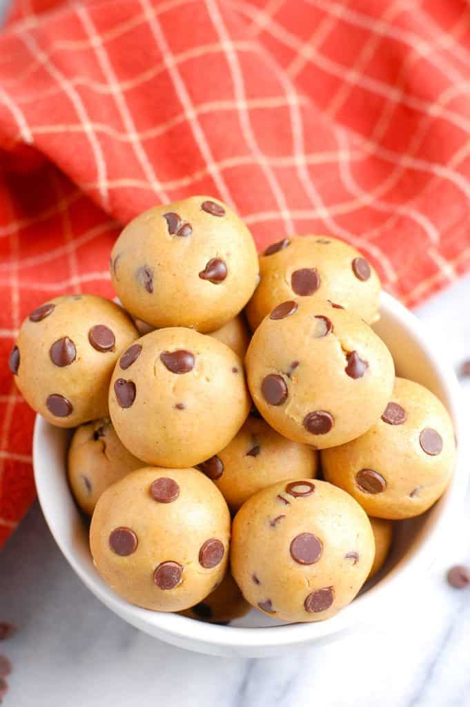 healthy cookie dough balls in a cup