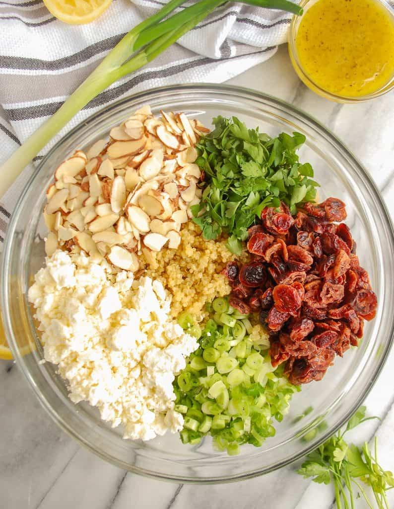 makings of cranberry quinoa salad