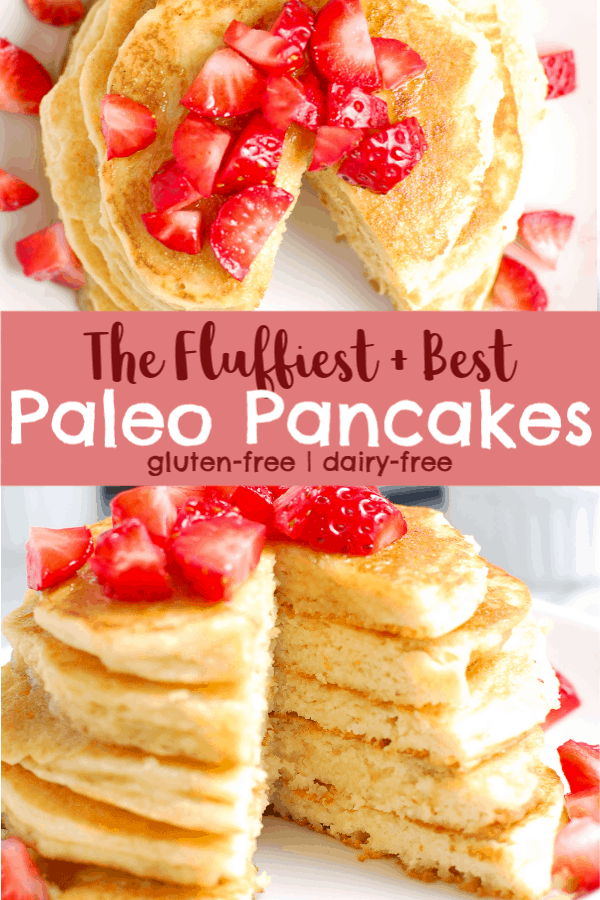 pinterest image for paleo pancakes