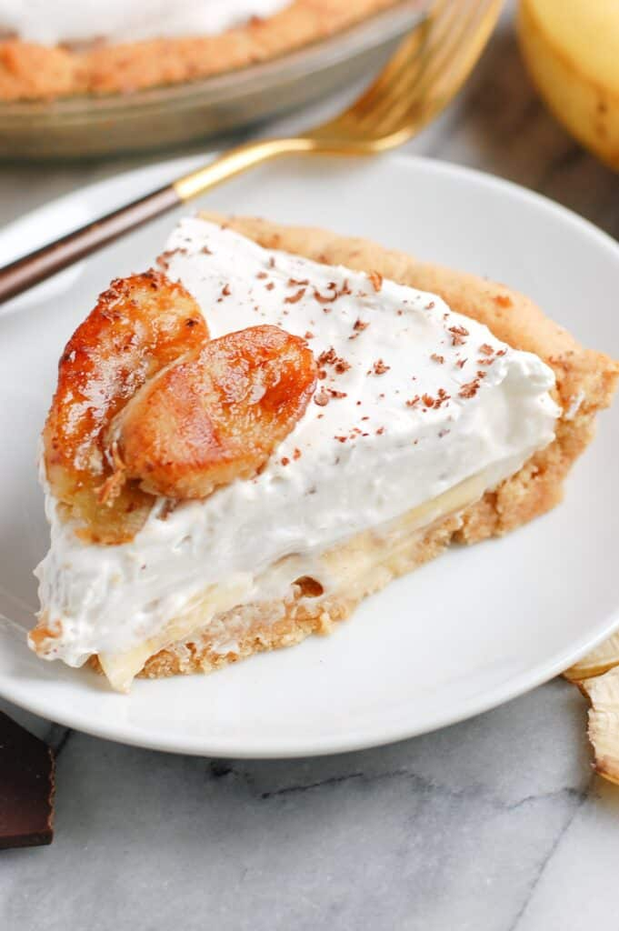 slice of healthy banana cream pie on a plate