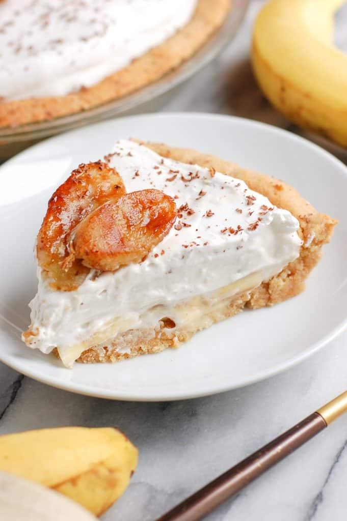 a slice of healthy banana cream pie