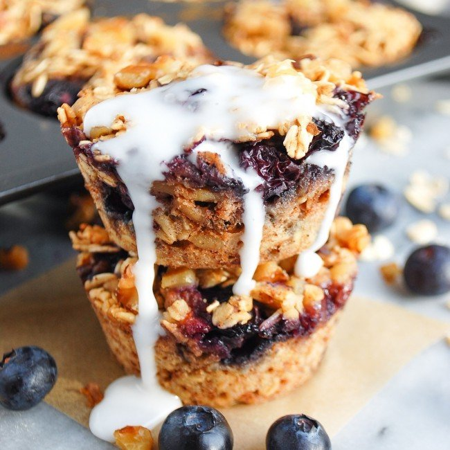 stack of baked blueberry oatmeal cups