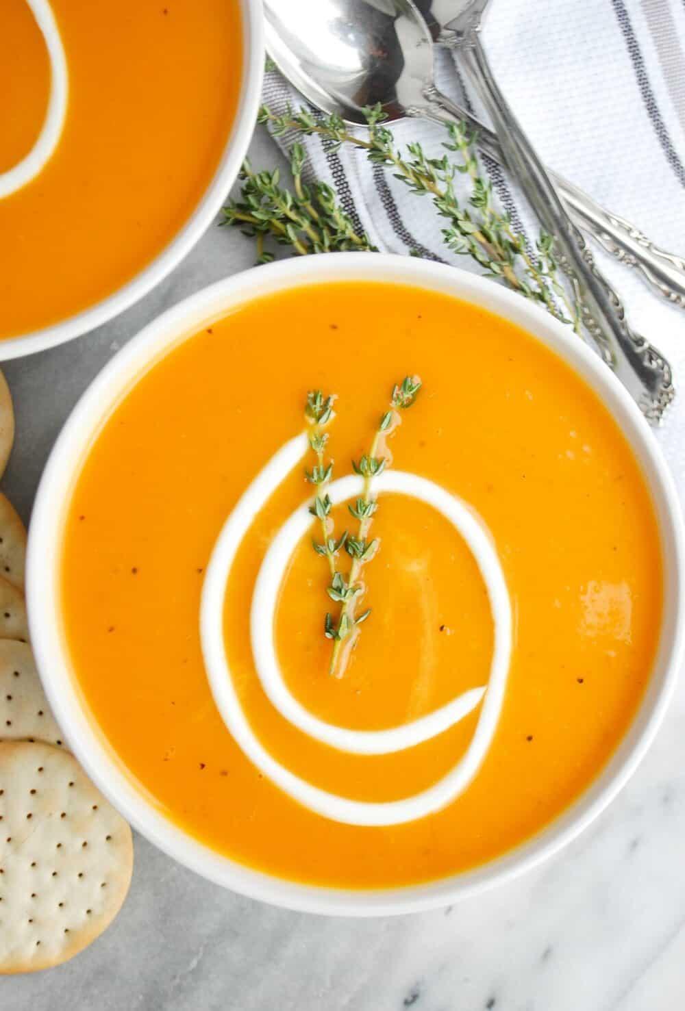 a bowl of butternut squash soup
