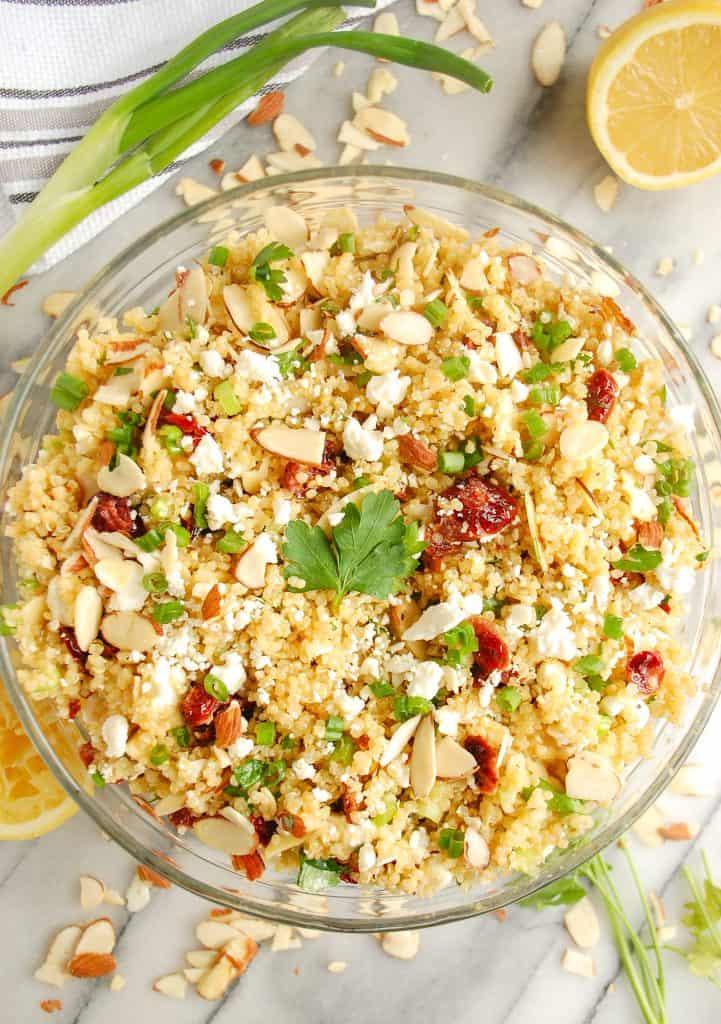 cranberry quinoa salad in a bowl