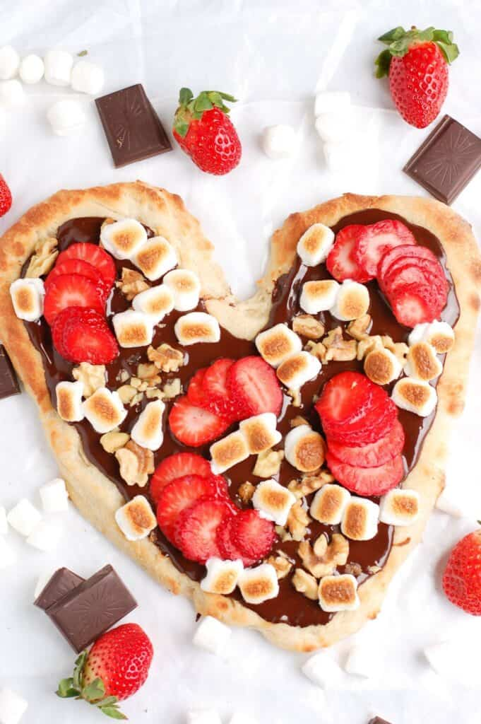 heart shapped healthy chocolate dessert pizza