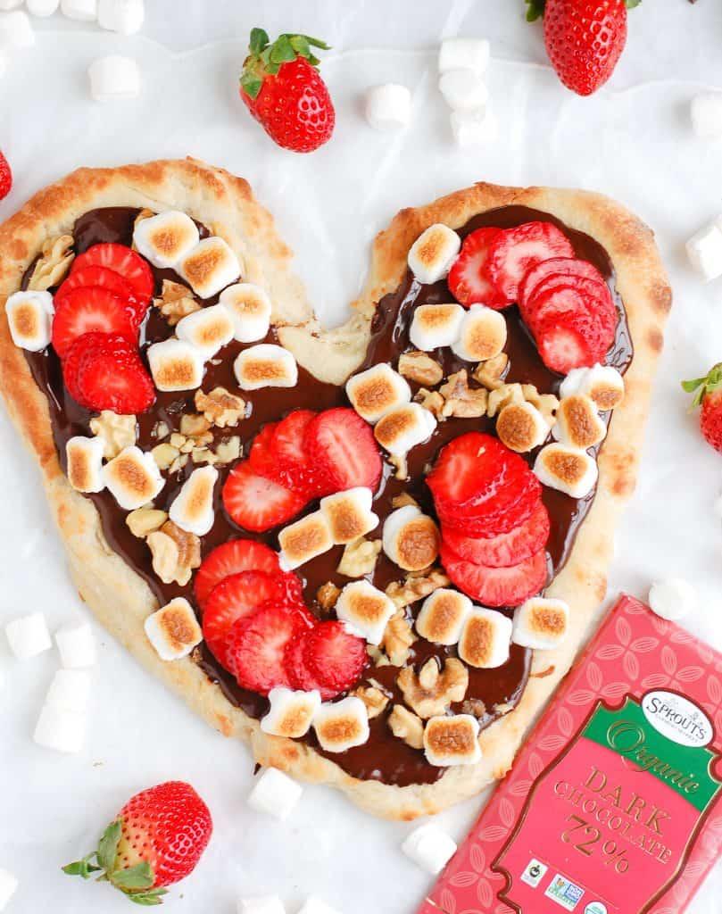 heart chocolate pizza with chocolate bars