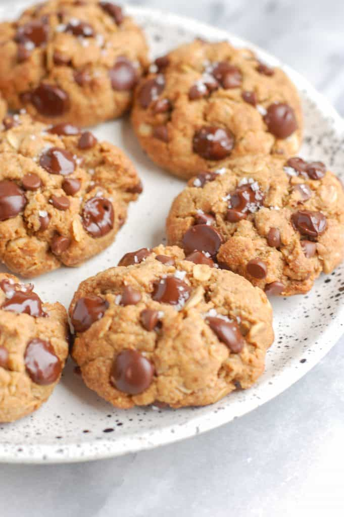 plate of healthy peanut butter oatmeal cookies