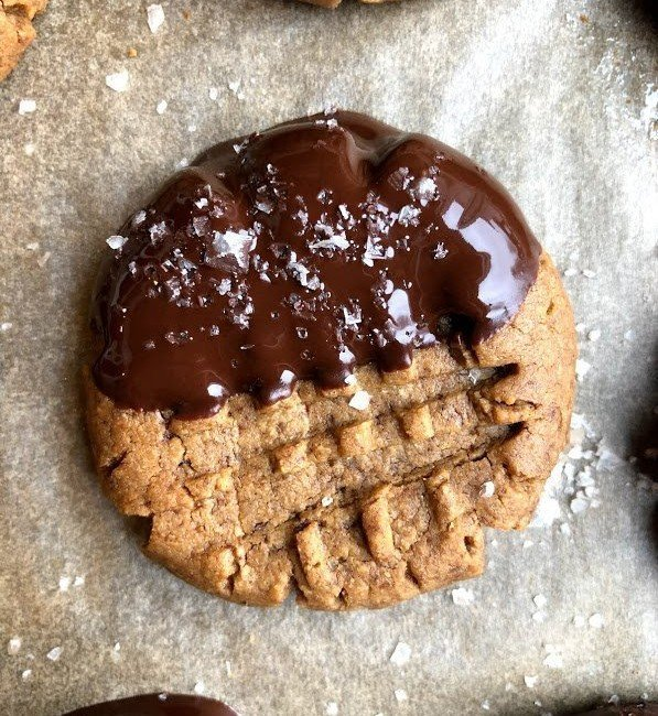 three ingredient peanut butter cookie on tray
