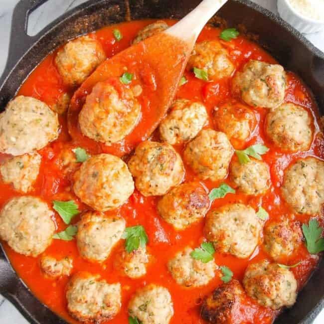 easy turkey meatballs in a skillet