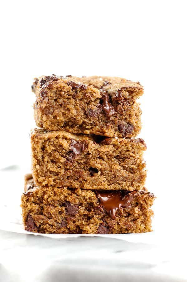 stack of almond butter blondies
