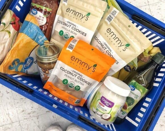a basket of pantry items from walmart