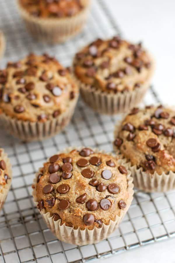 close up shot of paleo banana bread muffins