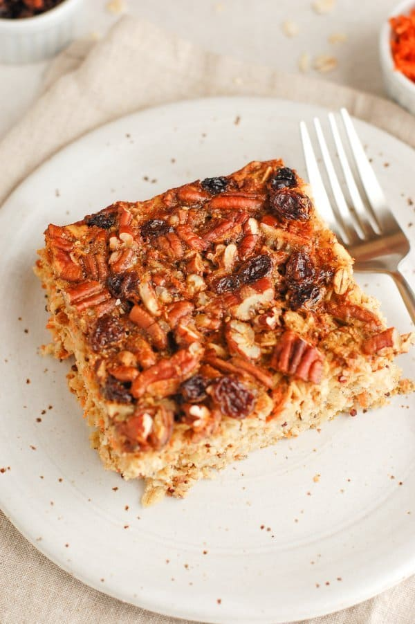slice of carrot cake baked oatmeal