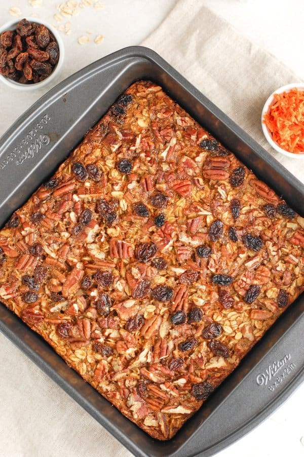 overhead shot of carrot cake baked oatmeal