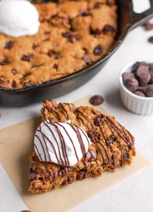 slice of healthy oatmeal skillet cookie
