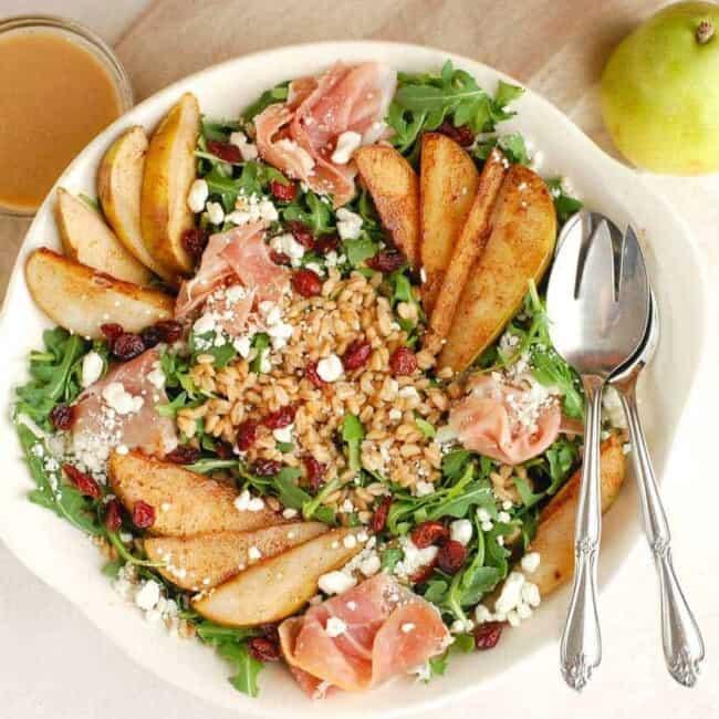 overhead of pear salad